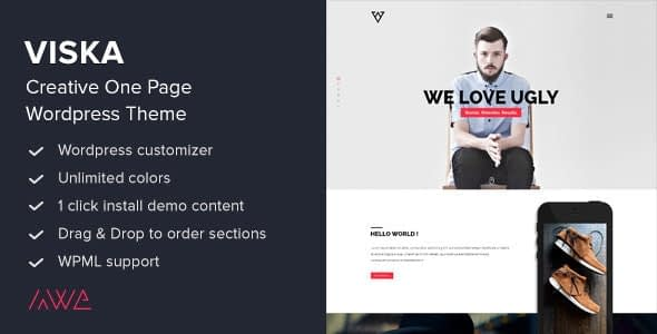 Viska – Creative One Page WordPress Theme